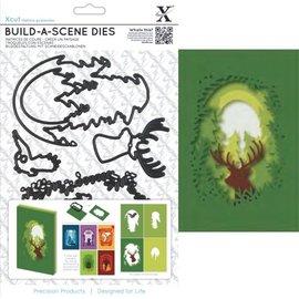 Docrafts / X-Cut Corte e estampagem estêncil para um cartão de caixa de sombra, renas
