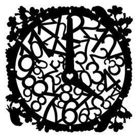 Dutch DooBaDoo Masque Stencil Horloge, dessins, 300 x 300 mm