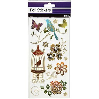 Sticker Hübsche Foliensticker, Blatt 10,4x29 cm,  mit gold Effekt, Frühling, 4 sort. Blatt