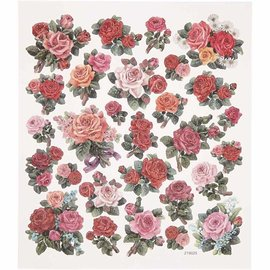 Sticker autocollant feuille feuille 15x16, 5 cm, roses, 1 feuille
