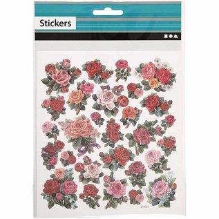 Sticker Folienaufkleber, Blatt 15x16,5 cm, Rosen, 1 Blatt