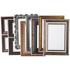 KARTEN und Zubehör / Cards Frame, vel 26,2 x18, 5 cm, metallic kleuren, 16 sorteren. Vel