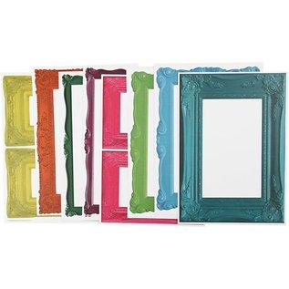 KARTEN und Zubehör / Cards Rahmen, Blatt 26,2x18,5 cm, kräftige Farben, 16 sort. Blatt