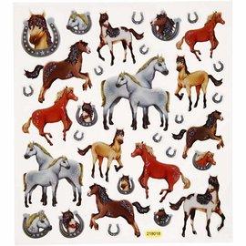 Sticker Fantasia Glitter etiqueta, folha de 15x16, 5 cm, cavalos, 1 folha