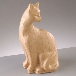 Objekten zum Dekorieren / objects for decorating Figura PappArt, gatto seduto