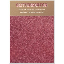 DESIGNER BLÖCKE / DESIGNER PAPER Glitter carton, 10 feuilles 280g / m², A4, altrosa