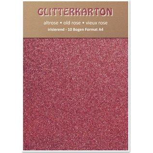 DESIGNER BLÖCKE / DESIGNER PAPER Glitter karton, 10 vellen 280g / m², A4, altrosa