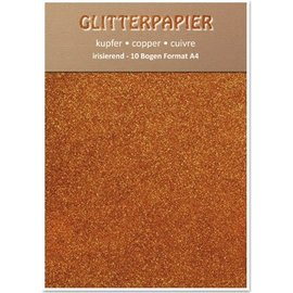 Karten und Scrapbooking Papier, Papier blöcke Glitterpapier irisierend, Format A4, 150 g,kupfer