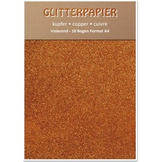 DESIGNER BLÖCKE / DESIGNER PAPER Glitterpapier irisierend, Format A4, 150 g, kupfer