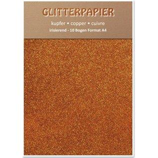 Karten und Scrapbooking Papier, Papier blöcke Glitterpapier irisierend, Format A4, 150 g, kupfer
