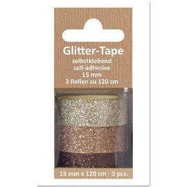 Embellishments / Verzierungen Glitter Tape, selvklæbende, beige, lysebrun, brun d `