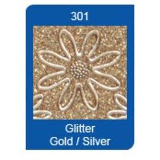 Sticker Glitter Ziersticker, 10 x 23cm, tal, i sølv-guld