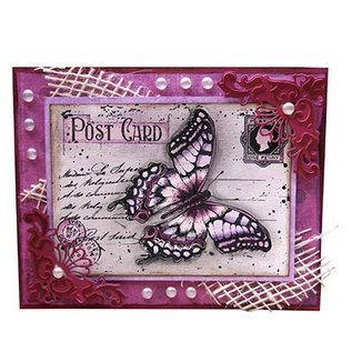 "Joy!Crafts / Hobby Solutions Dies Joy Crafts, Transparent Stempel, ""Old letter Butterfly"" , 85 x 120mm"
