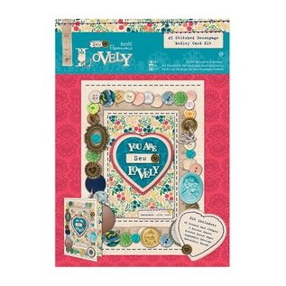 Couture: A5 carte Decoupage Kit Medley-cousus Belle