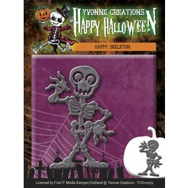 Yvonne Creations Punching and embossing template, Happy skeleton