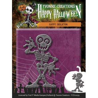 Yvonne Creations Stansning og prægning skabelon, Glad skelet