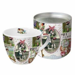 DECOUPAGE AND ACCESSOIRES 1 Exclusieve Ontwerper Vintage cup in mooie metalen doos (groot)