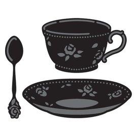 Marianne Design Ponsen en embossing sjabloon, kopje koffie en thee kop en lepel