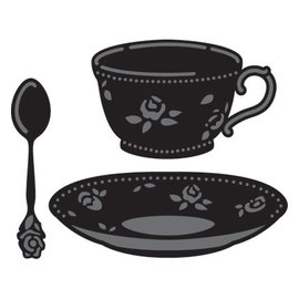 Marianne Design Punching and embossing template, coffee cup and tea cup and spoon