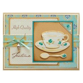 Marianne Design Stanz- und Prägeschablone, Kaffeetasse und Teetasse mit Löffel