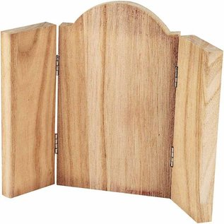 Objekten zum Dekorieren / objects for decorating trefløjet ikon, træ - med metal hængsler 18 x 22 cm