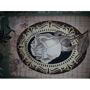 Objekten zum Dekorieren / objects for decorating drie-vleugel pictogram, houten - met metalen scharnieren 18 x 22cm