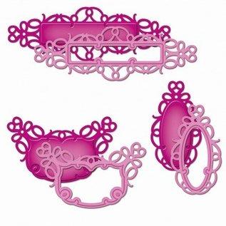 Spellbinders und Rayher Metallschablone Shapeabilities, Fancy framed Tags 3, 4 x 1 - 10,9 x 3,1 cm, 6 Stück