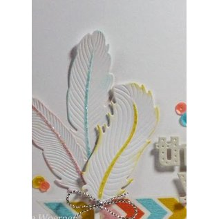 Spellbinders und Rayher Metallschablone Shapeabilities, Feder, Ein Set von 6 Schablonen.