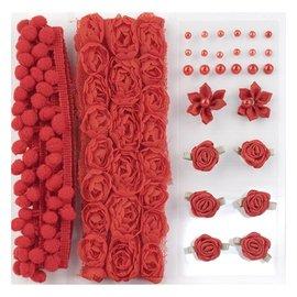 DEKOBAND / RIBBONS / RUBANS ... Poms & Flowers - Embellishment, pom poms and flowers set Red, assorti