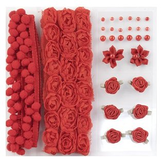 DEKOBAND / RIBBONS / RUBANS ... Chenille og pomponer & Blomster - Udsmykning, pom poms og blomster sæt Rød, Assorti
