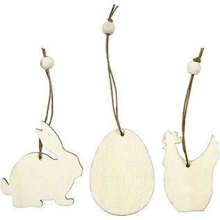 Objekten zum Dekorieren / objects for decorating Holzornament, 6 cm, Kaninchen, Ei, Huhn, 9 sort.