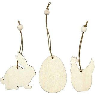Objekten zum Dekorieren / objects for decorating Houten ornament, 6 cm, konijn, ei, kip, 9 sorteren.