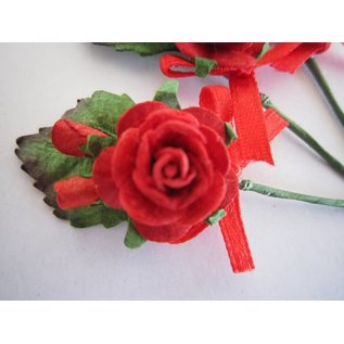 BASTELSETS / CRAFT KITS Rosa 3 mini bouquet rosso con il nastro. - Copy