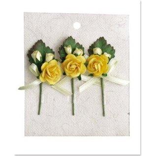 Embellishments / Verzierungen 3 MIni Rosenbouquets mit Schleife gelb