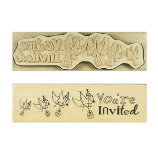 """Stempel / Stamp: Holz / Wood """"U wordt uitgenodigd"""""""