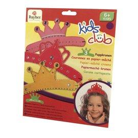 Kinder Bastelsets / Kids Craft Kits Coroas de papel machê, Trio, princesinha