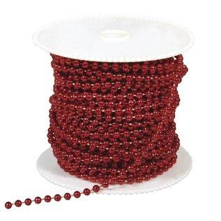 DEKOBAND / RIBBONS / RUBANS ... Store perler, 4 mm, rød, pr per meter