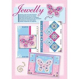 Komplett Sets / Kits NOUVEAUX; Bastelset, Jewelly Papillons ensemble, de belles cartes brillantes avec autocollant
