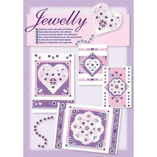 Komplett Sets / Kits Craft Kit, Jewelly Floral sæt, lyse smukke kort med mærkaten