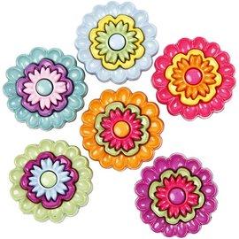 Embellishments / Verzierungen Botões motivo, 20 milímetros, flores, 6 peças.