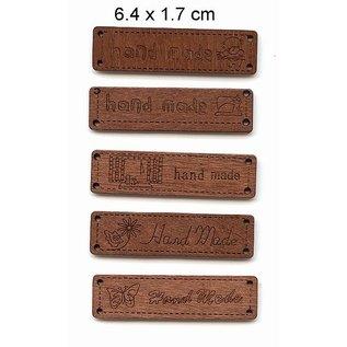 Embellishments / Verzierungen 5 étiquettes différentes Durchholzen avec du texte - la main -, taille 6,4 x 1,7 cm