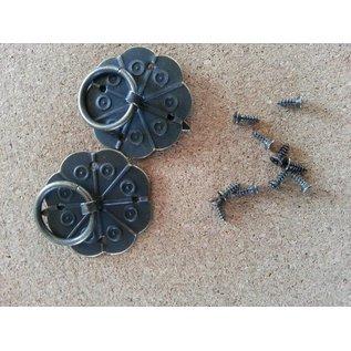 Embellishments / Verzierungen 2 Scrapbook Handgriff in metall, montierbar mit Schrauben auch mit Brad