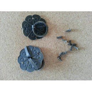 Embellishments / Verzierungen 2 Scrapbog håndtag i metal, monteret med skruer med Brad