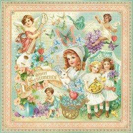 """GRAPHIC 45 NUOVO: Grande carta Designer, """"sentimenti dolci"""", 1 foglio 30,5 x 30,5cm"""