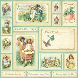 "Designer Papier Scrapbooking: 30,5 x 30,5 cm Papier NEW: Great Designer paper, ""sweet sentiment, Spring is in the aer"", 1 sheet 30.5 x 30.5 cm"