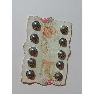 Embellishments / Verzierungen 10 Perlmut brads, 12mm