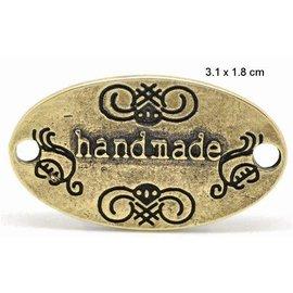 """Embellishments / Verzierungen NOUVEAU: """"fait main"""" 4 étiquettes en métal"""