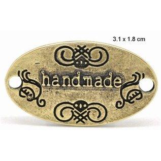 """Embellishments / Verzierungen """"fait main"""" 4 étiquettes en métal"""
