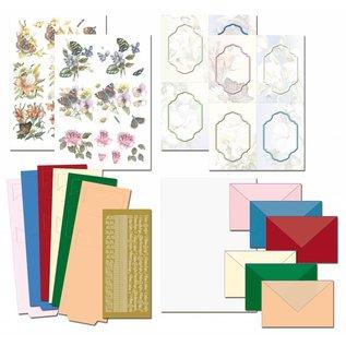 BASTELSETS / CRAFT KITS Completa Bastelset, NoteCards Staf Wesenbeek, Set 1 fiori con le farfalle