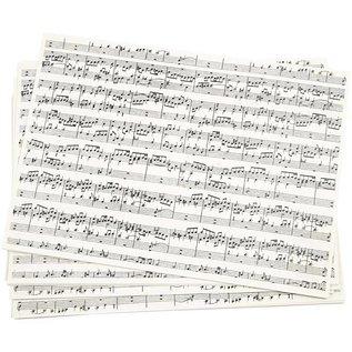 DESIGNER BLÖCKE / DESIGNER PAPER Kraftpapier, A4 , Musiknoten, 5 Blatt
